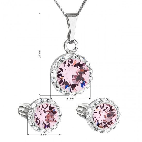 Sada šperků s krystaly Swarovski náušnice, řetízek a přívěsek růžové kulaté 39352.3 light rose