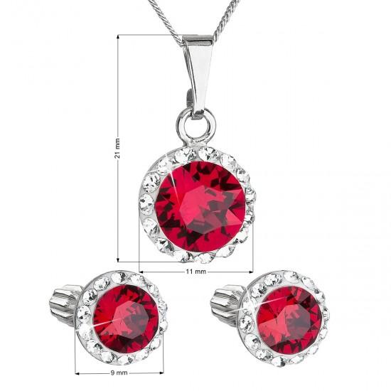 Sada šperků s krystaly Swarovski náušnice, řetízek a přívěsek červené kulaté 39352.3
