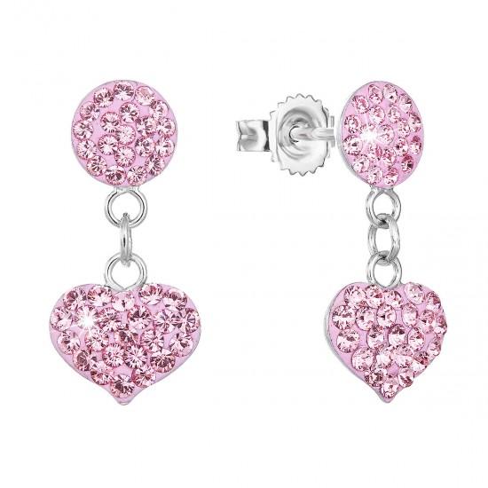 Stříbrné náušnice visací s krystaly Swarovski růžové srdce 71073.3