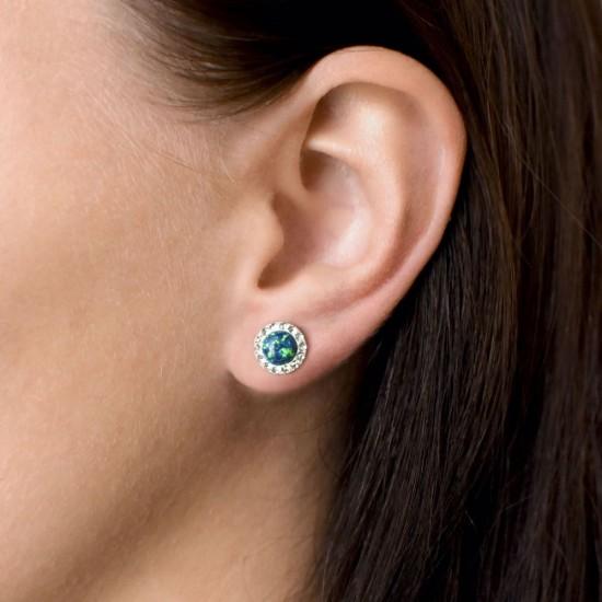 Stříbrné náušnice pecky se syntetickým opálem a krystaly Swarovski zelené kulaté 31317.1
