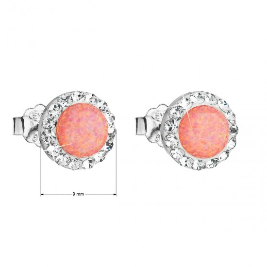 Stříbrné náušnice pecky se syntetickým opálem a krystaly Swarovski oranžové kulaté 31217.1