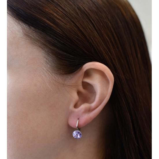 Stříbrné náušnice visací s krystaly Swarovski fialové kulaté 31229.3 violet