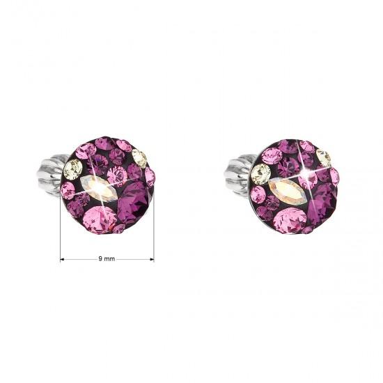 Stříbrné náušnice pecka s krystaly Swarovski fialové kulaté 31336.3 amethyst