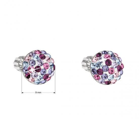 Stříbrné náušnice pecka s krystaly Swarovski mix fialové kulaté 31336.3