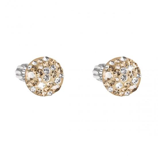 Stříbrné náušnice pecka s krystaly Swarovski zlaté kulaté 31336.5 gold
