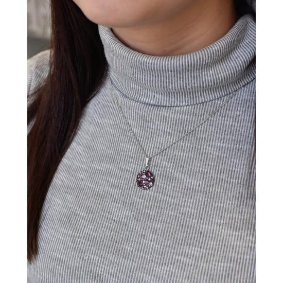 Stříbrný přívěsek s krystaly Swarovski fialový kulatý 34225.3 dark amethyst