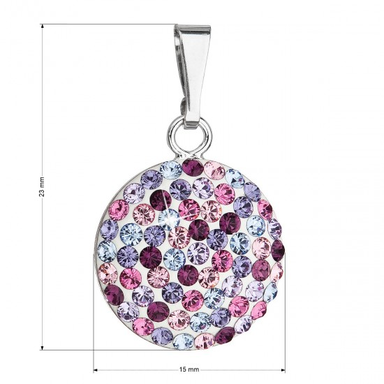 Stříbrný přívěsek s krystaly Swarovski mix fialové kulatý 34225.3