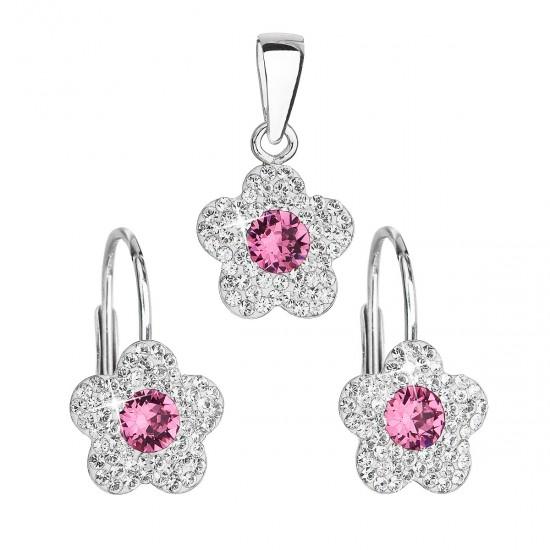 Sada šperků s krystaly Swarovski náušnice a přívěsek růžová kytička 39162.3