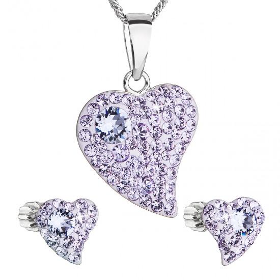 Sada šperků s krystaly Swarovski náušnice,řetízek a přívěsek fialové srdce 39170.3