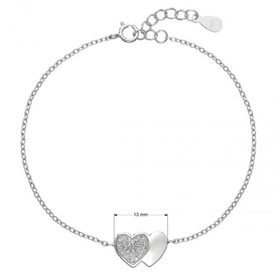 Stříbrný náramek se zirkony srdce 13010.1