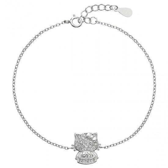 Stříbrný náramek se zirkony kočička 13012.1