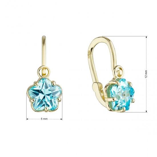 Zlaté dětské náušnice visací kytičky s modrým zirkonem 991013.3