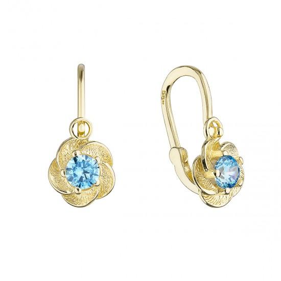 Zlaté dětské náušnice visací kytičky s modrým zirkonem 991018.3