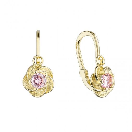 Zlaté dětské náušnice visací kytičky s růžovým zirkonem 991018.3
