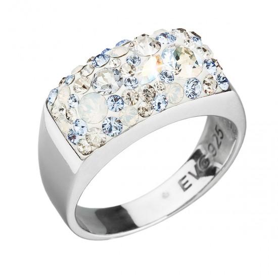 Stříbrný prsten s krystaly Swarovski modrý 35014.3 light sapphire