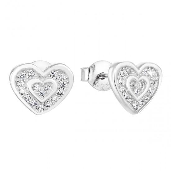 Stříbrné náušnice pecka se zirkonem bílé srdce 11025.1