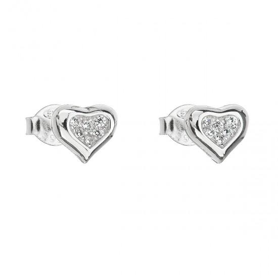Stříbrné náušnice pecka se zirkonem bílé srdce 11066.1