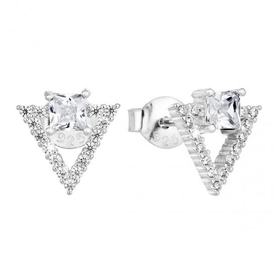 Stříbrné náušnice pecka se zirkonem bílý trojúhelník 11150.1