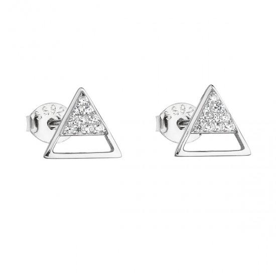Stříbrné náušnice pecka se zirkonem bílý trojúhelník 11159.1