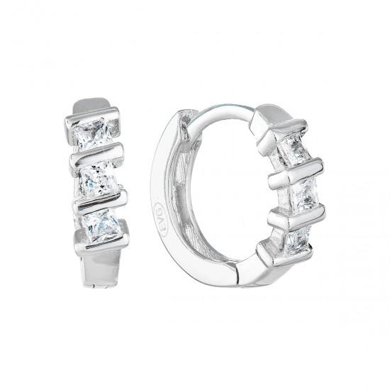 Stříbrné náušnice kruhy se zirkonem v bílé barvě 11241.1