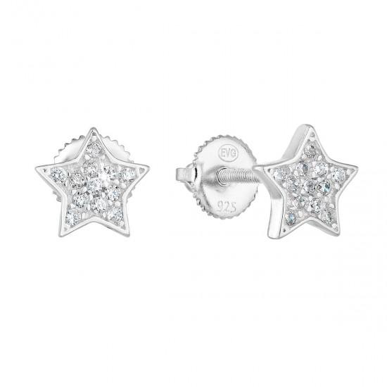 Stříbrné náušnice pecka se zirkonem bílá hvězdička 11259.1