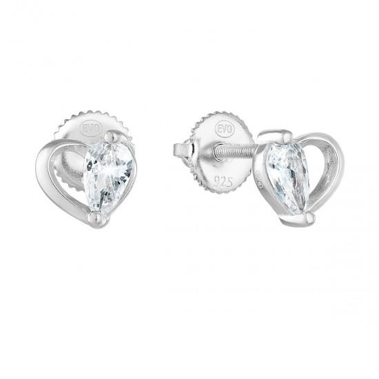Stříbrné náušnice pecka se zirkonem bílé srdce 11260.1