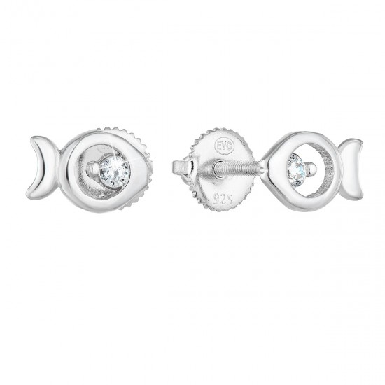 Stříbrné náušnice pecka se zirkonem bílá rybička 11286.1