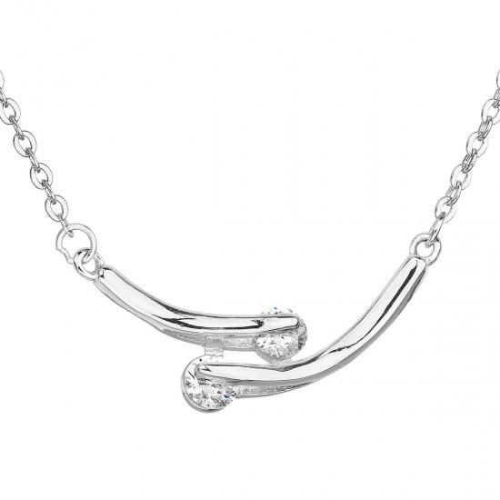 Stříbrný náhrdelník se zirkonem v bílé barvě 12009.1