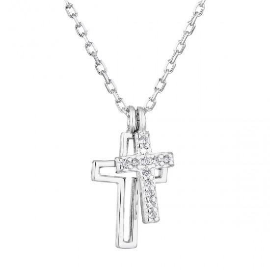 Stříbrný náhrdelník se zirkonem bílý křížek 12012.1