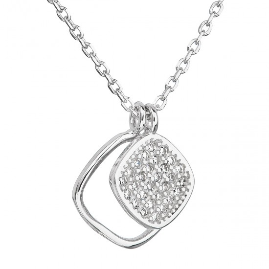 Stříbrný náhrdelník se zirkonem v bílé barvě 12013.1