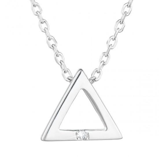 Stříbrný náhrdelník se zirkonem bílý trojúhelník 12016.1