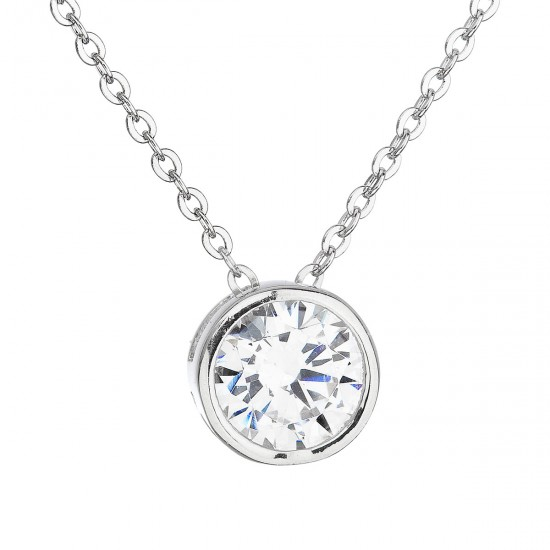 Stříbrný náhrdelník se zirkonem v bílé barvě 12017.1