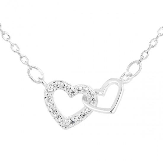 Stříbrný náhrdelník se zirkonem bílé srdce 12018.1