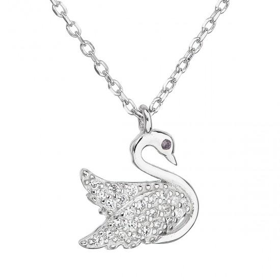 Stříbrný náhrdelník se zirkonem bílá labuť 12019.1
