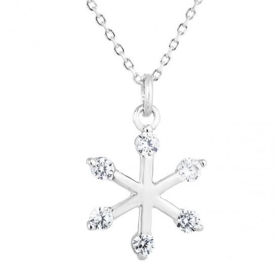 Stříbrný náhrdelník se zirkonem bílá vločka 12030.1