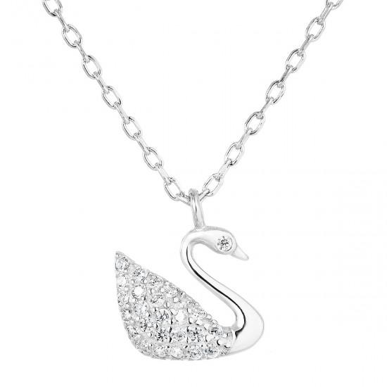 Stříbrný náhrdelník se zirkonem bílá labuť 12032.1