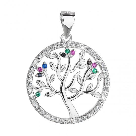 Stříbrný přívěsek se zirkony mix barev strom života 14001.3