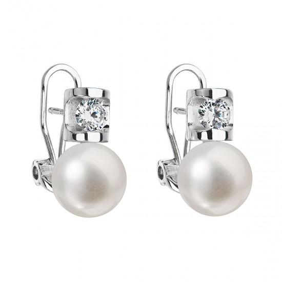 Stříbrné náušnice visací s bílou říční perlou 21018.1