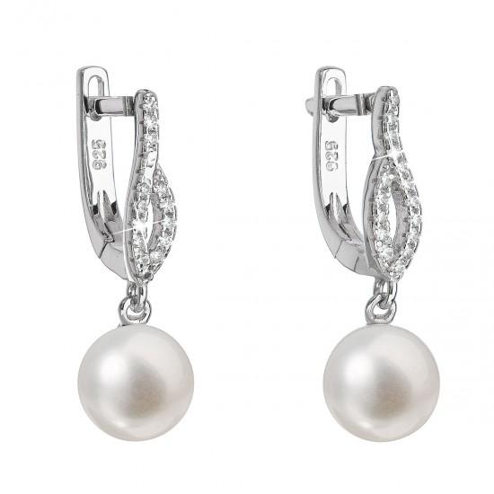 Stříbrné náušnice visací s bílou říční perlou 21027.1