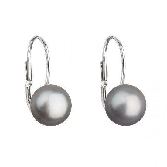 Stříbrné náušnice visací s šedou říční perlou 21044.3