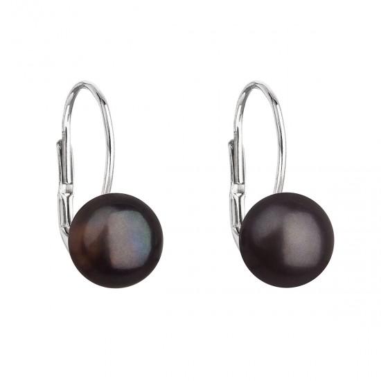 Stříbrné náušnice visací s černou říční perlou 21044.3