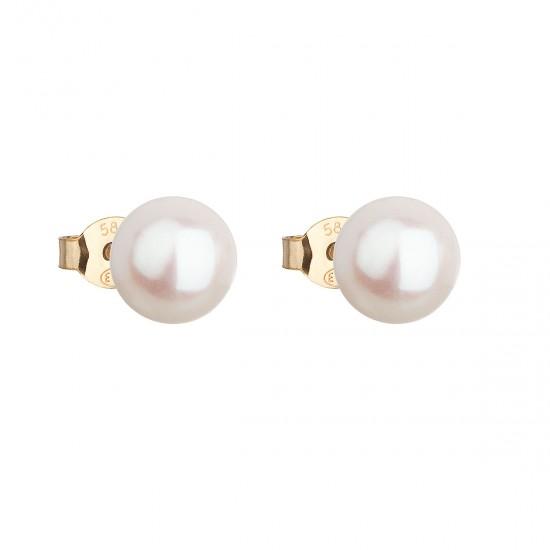 Zlaté 14 karátové náušnice pecky s bílou říční perlou 921042.1