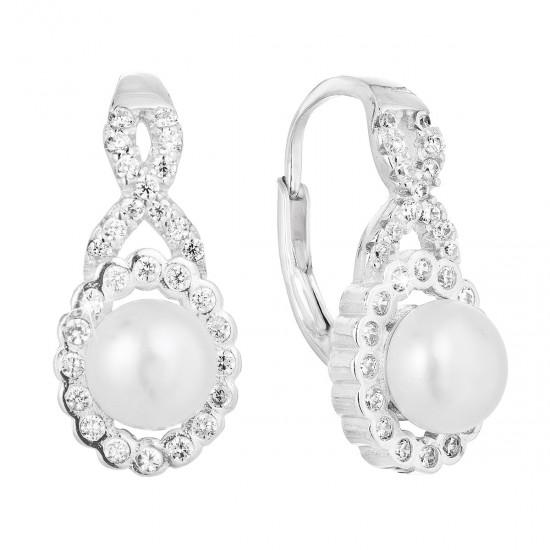Stříbrné náušnice visací s bílou říční perlou 21052.1