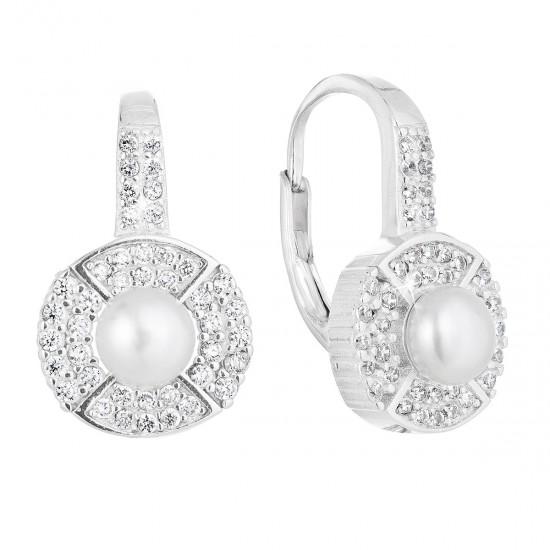 Stříbrné náušnice visací s bílou říční perlou 21054.1