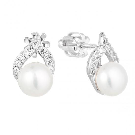 Stříbrné náušnice pecky s bílou říční perlou 21055.1