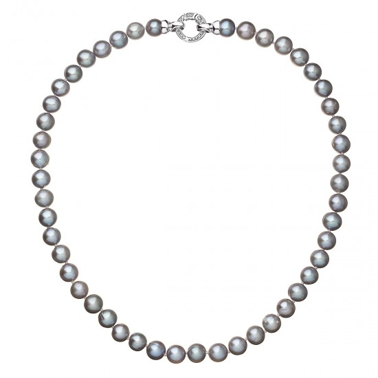 Perlový náhrdelník z pravých říčních perel šedý 22028.3