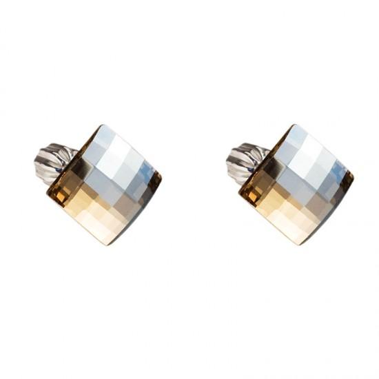 Stříbrné náušnice pecka s krystaly zlatý čtverec 31108.5
