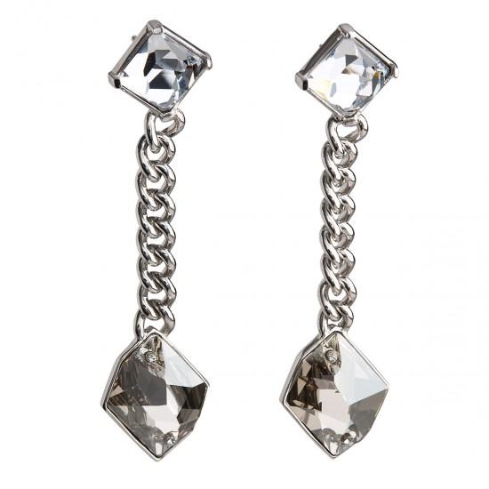 Stříbrné náušnice visací s krystaly šedé 31802.5