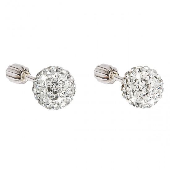 Stříbrné náušnice pecky s krystaly Swarovski bílé kulaté 31111.1