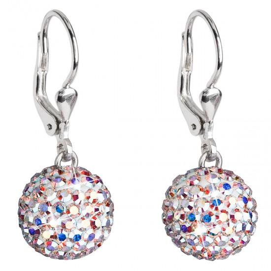 Stříbrné náušnice visací s krystaly Swarovski AB efekt kulaté 31109.2